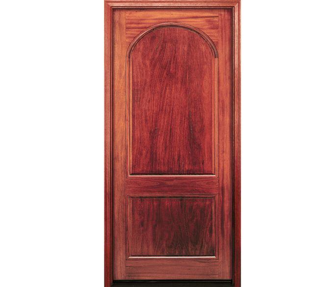 2 panel springline wood entry door