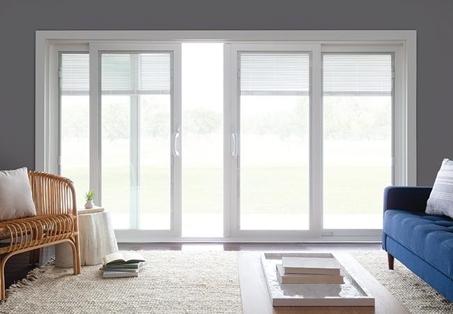 White 250 Series sliding patio doors.