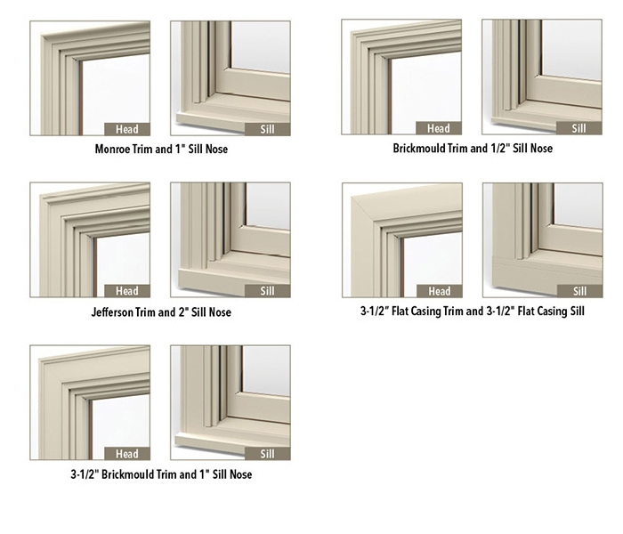 five types of head and sill details for wood installation