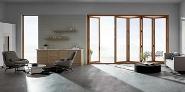 bifold patio door expansive interior shot