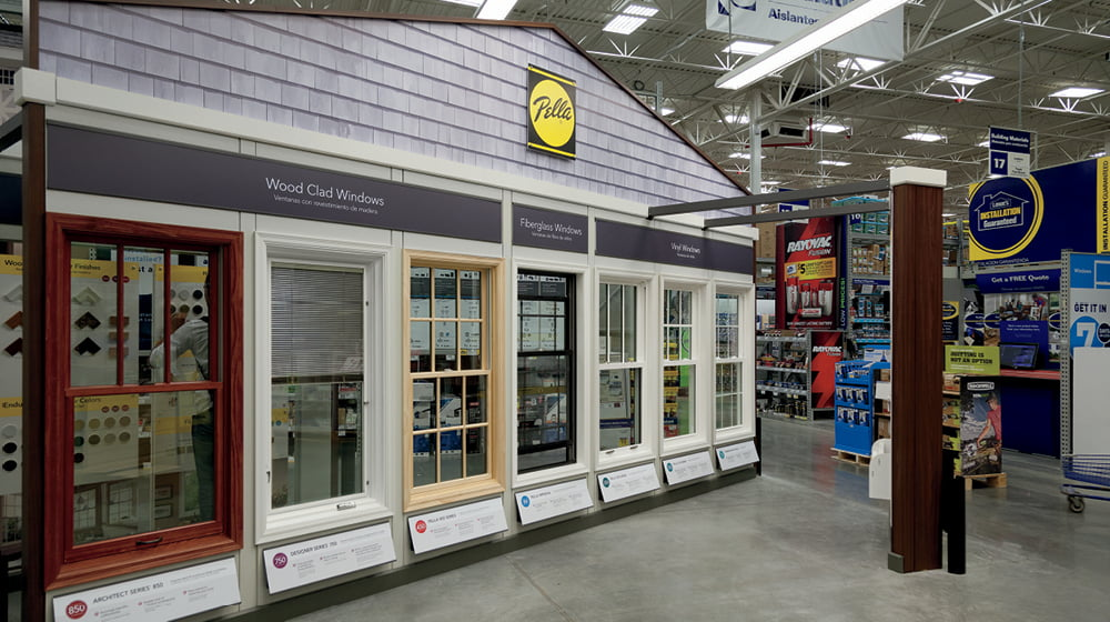 product wall inside a lowe's store with pella windows
