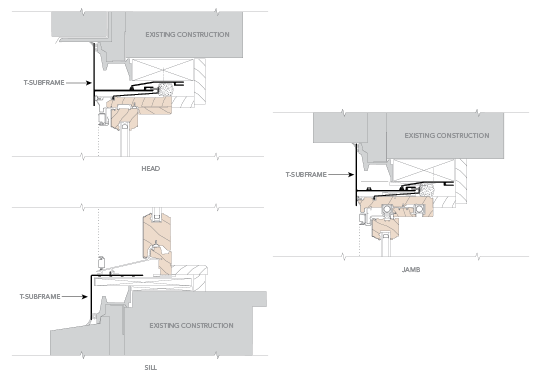 installation details for Replacement of Sash Only Using T-Subframe System