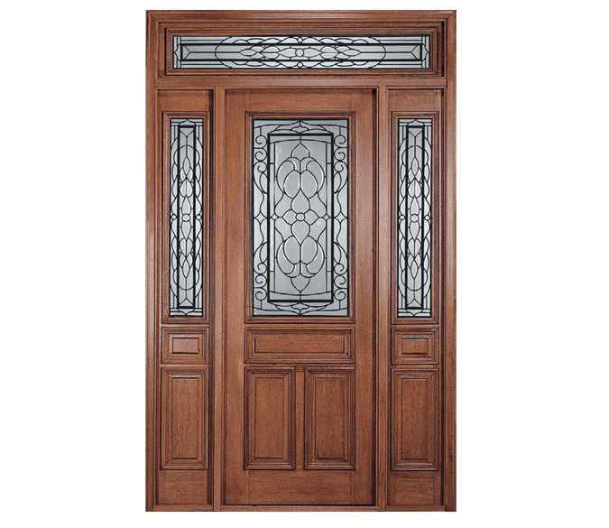 four panel wood entry door with full light sidelights and transom