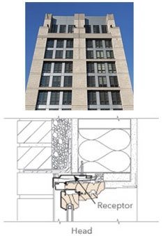 real life building image above a technical drawing of a receptor