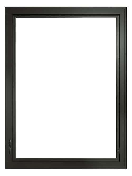 fiberglass casement window with black trim and top row grilles