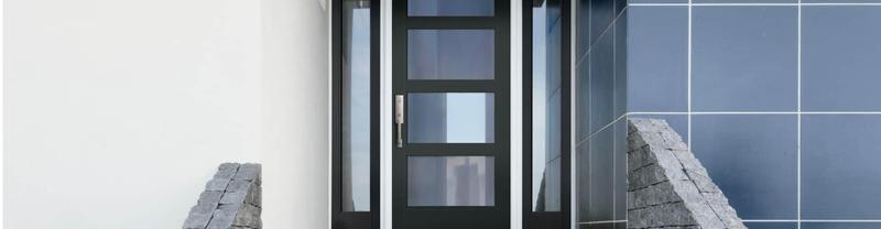 flush glazed full light entry door with dual full sidelights