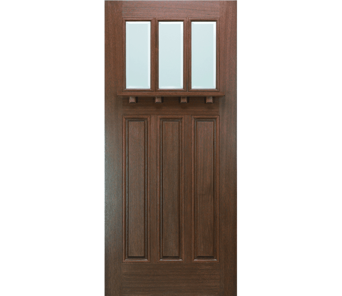 craftsman 3 panel 3 light wood entry door