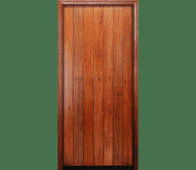 vertical plank wood entry door
