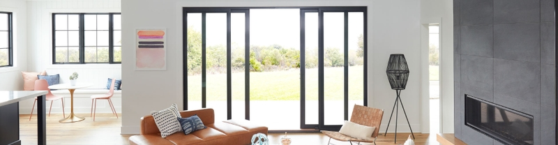 living room with lifestyle sliding doors