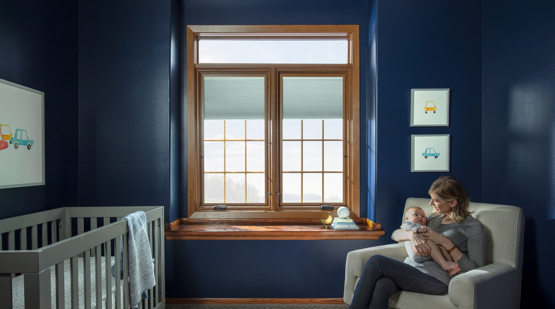 In-home nursery with soundproof windows.