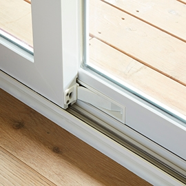 white integrated footbolt on a 250 series sliding patio door