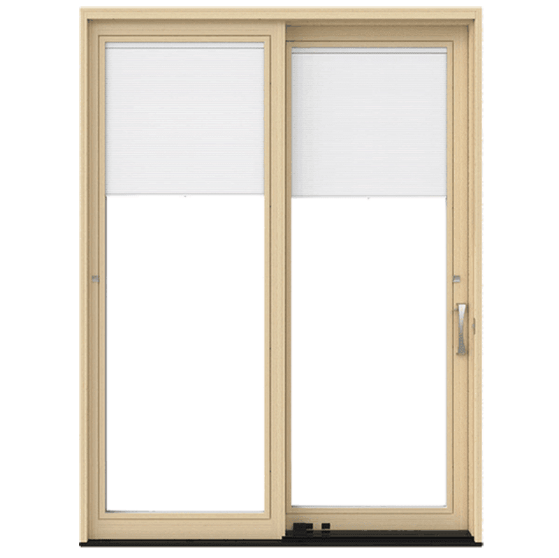 natural wood lifestyle sliding patio door with blinds