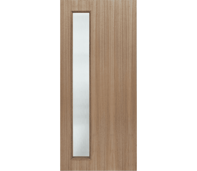 1 offset light entry door with a light wood stain