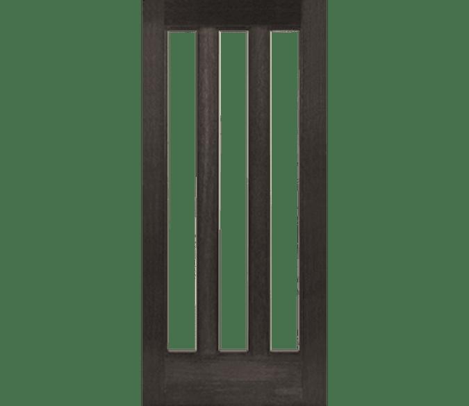 3 light vertical entry door in dark wood stain