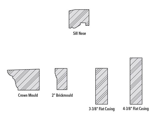trim and sill profiles for wood installation