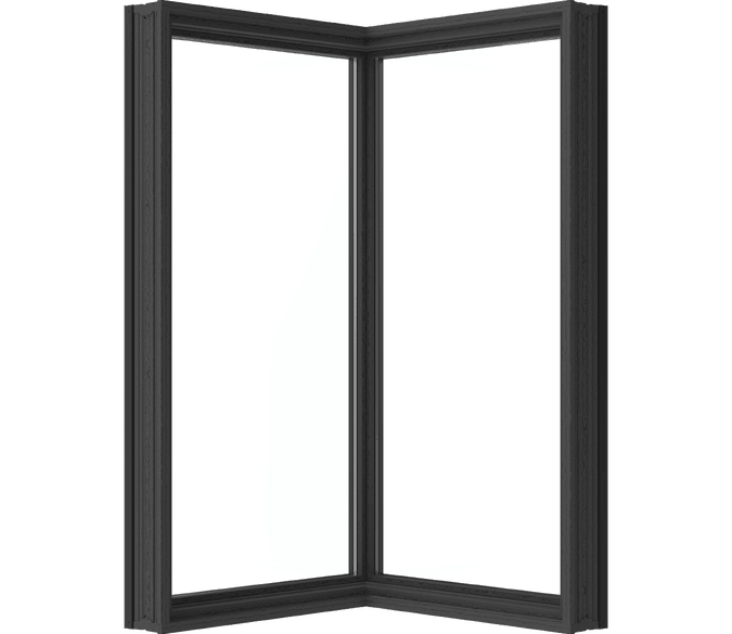 large corner-unit window with cut out background