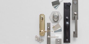 collection of patio door hardware in multiple finishes