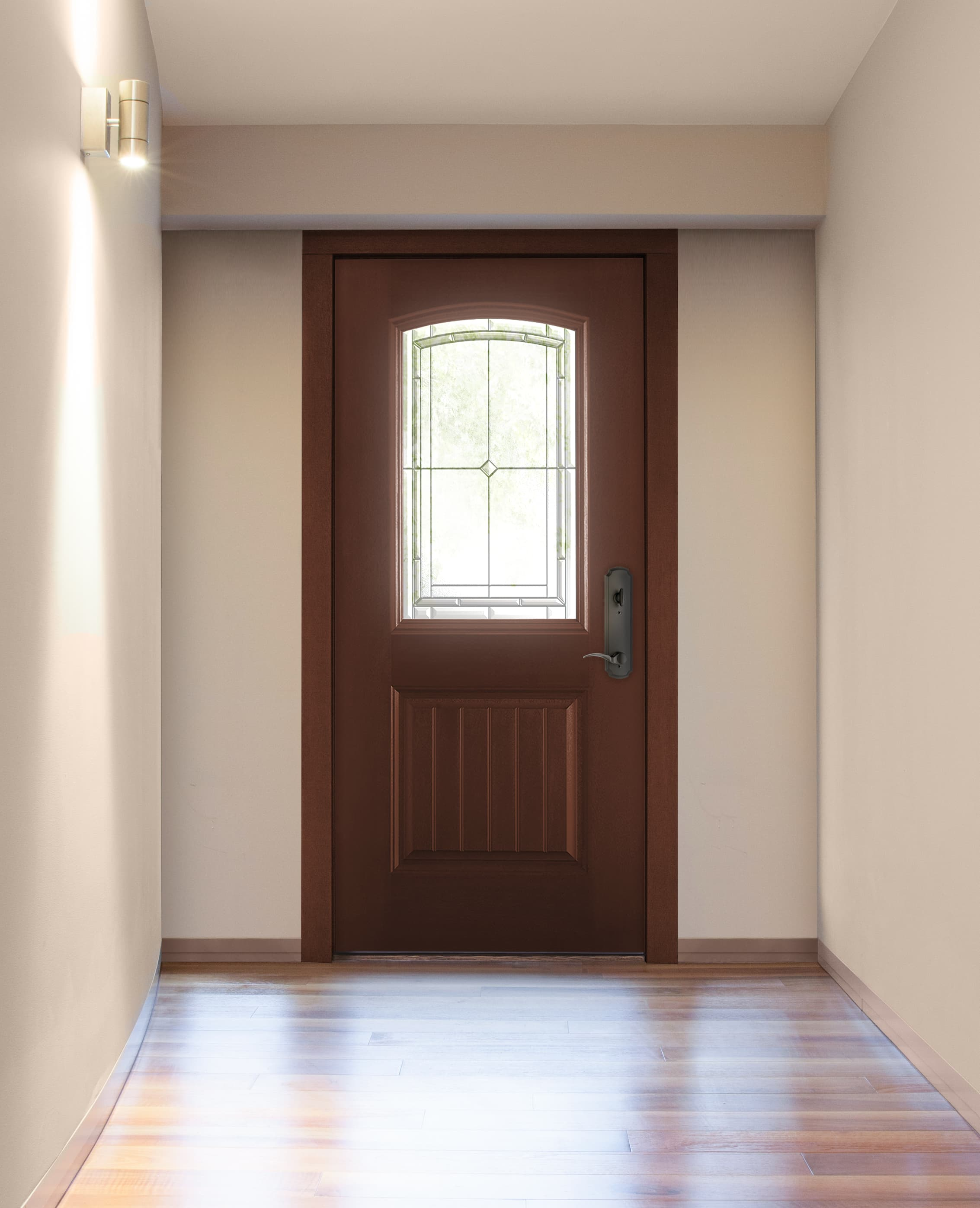 Brown fiberglass entry door with decorative glass
