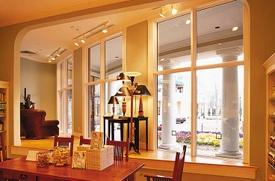 Interior view of aluminum clad wood storefront windows.