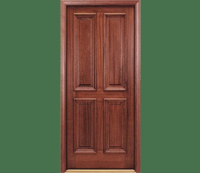 4 panel traditional wood entry door
