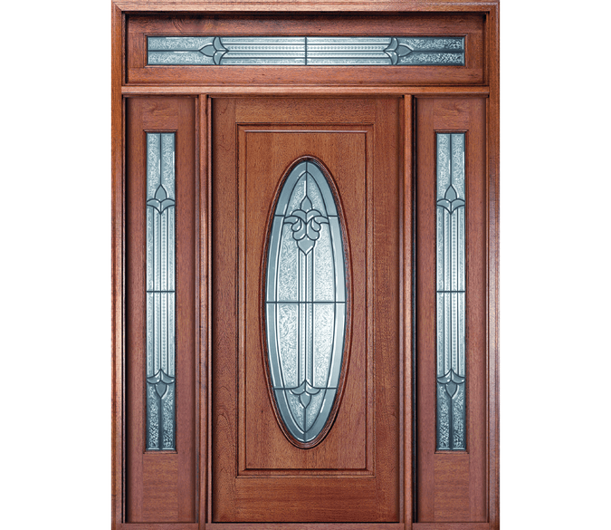 full oval wood entry door with full light sidelights and transom