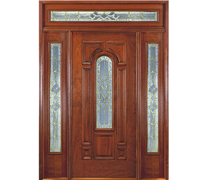 center arch wood entry door with glass and full light sidelights with a rectangular transom