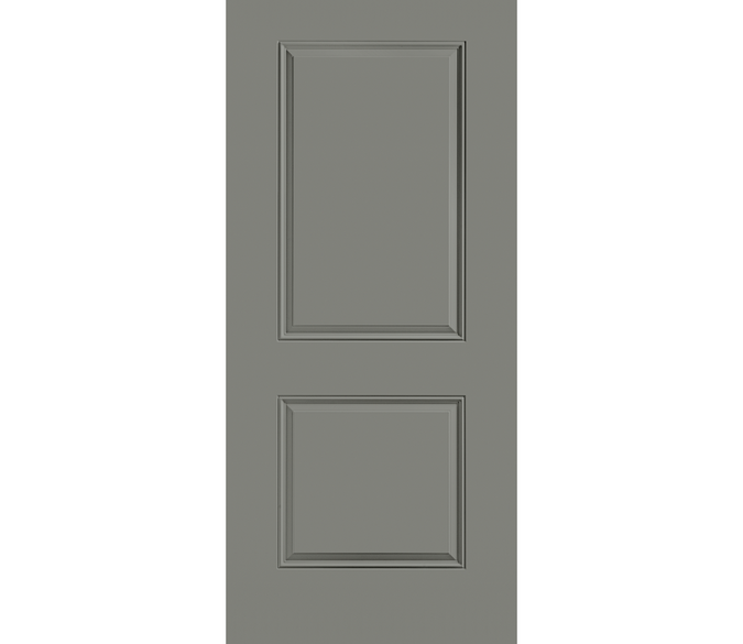 large cut out background image of a 2 panel square gray steel entry door