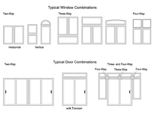 typical window and door combinations for vinyl products