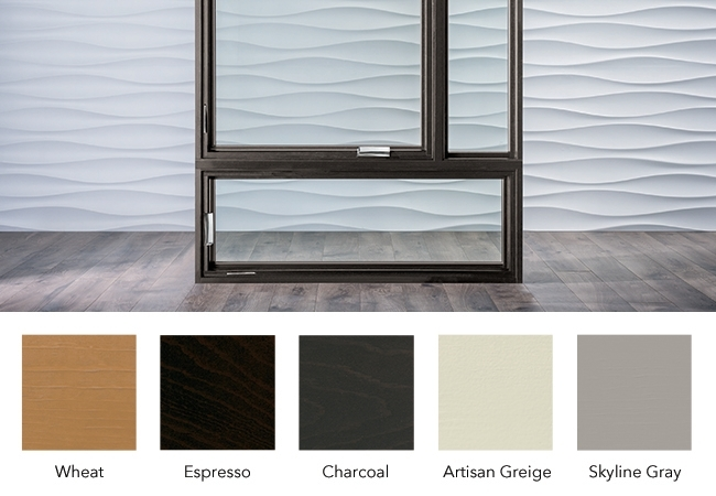 Shows the Wheat, Espresso, Charcoal, Artisan Greige, and Skyline Gray stain colors.