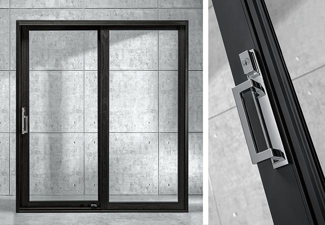 Black contemporary sliding patio door.