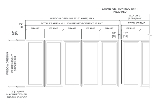 technical drawing of typical elevations for windows