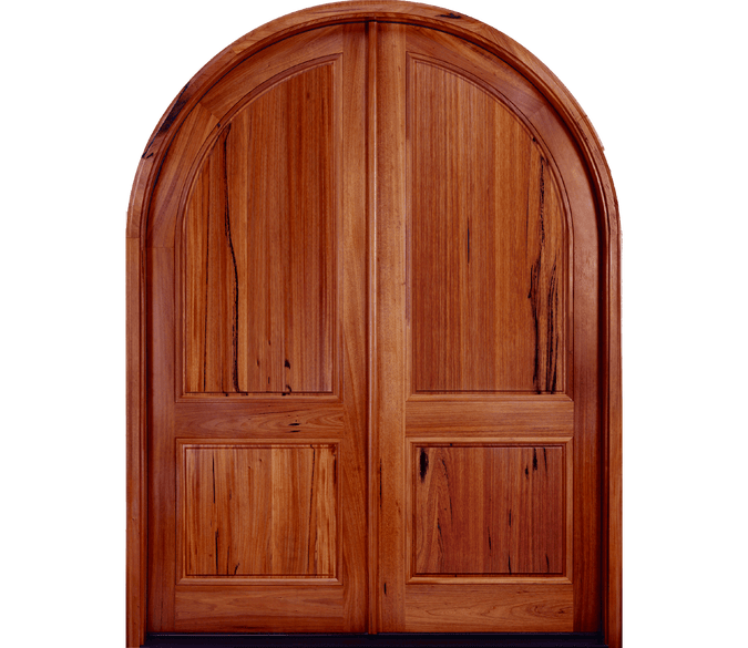 2 panel continuous arch springline wood entry door