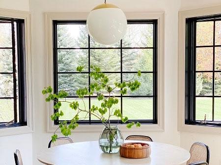 breakfast nook black contemporary windows