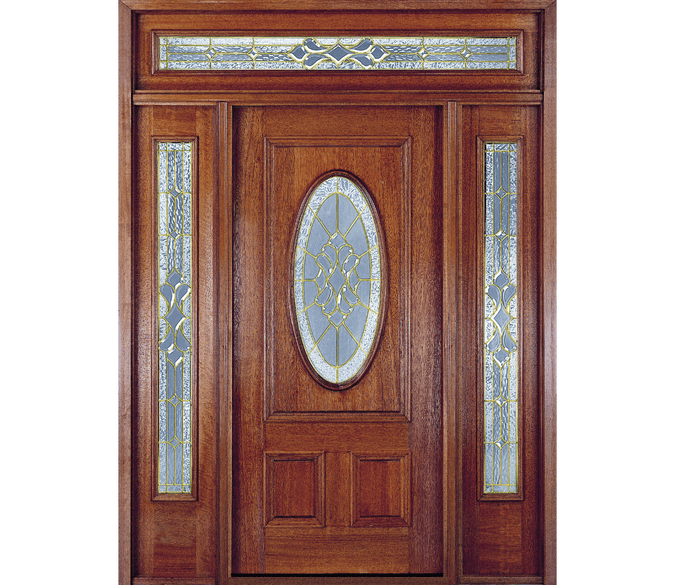 3 panel oval entry door with full light sidelights on each side and a decorative glass transom