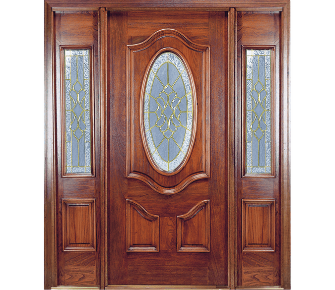 deluxe oval 3 panel wood entry door with 1/2 light sidelights on both sides