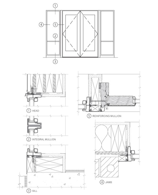 technical drawings for entrances and storefronts
