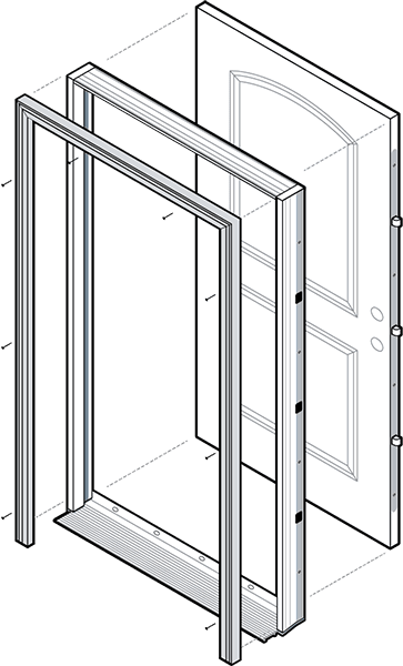 exploded view of an entry door