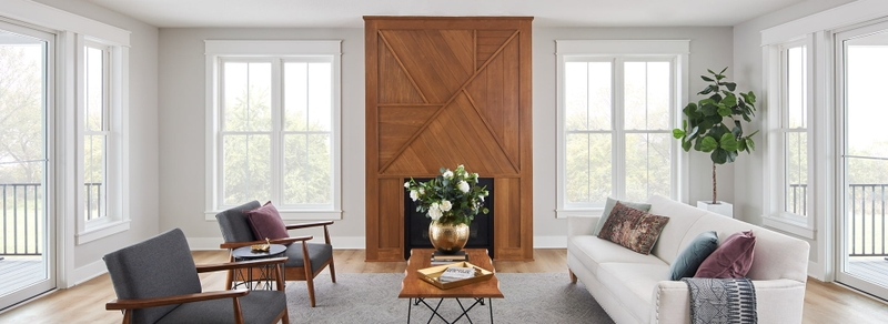 encompass by pella living room with double-hung windows and sliding door