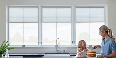 blinds between-the-glass kitchen white windows