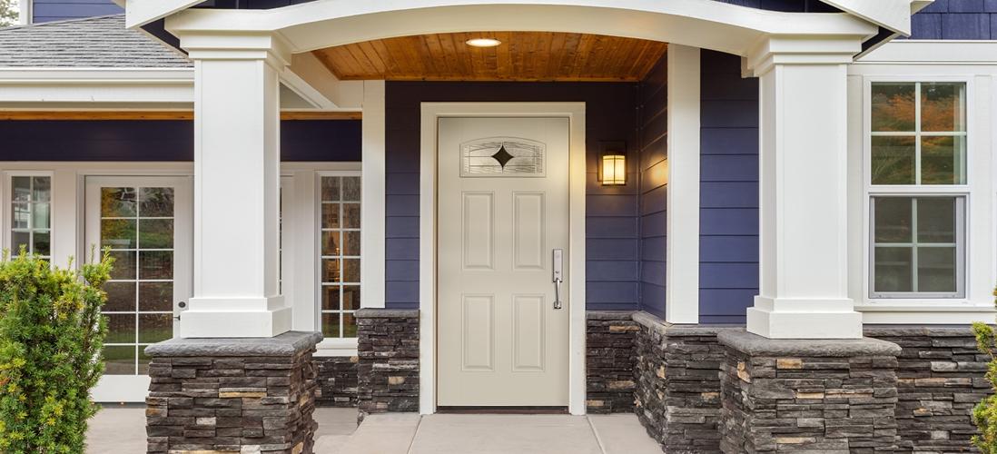 fan light white fiberglass entry door with delmar decorative glass