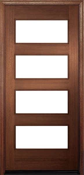 """single wood entry door with three 3"""" grilles between the frosted glass natural wood"""