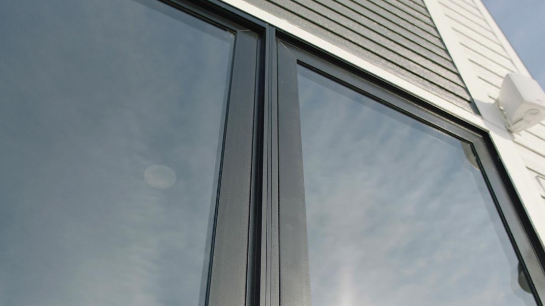 vertical view of a sliding patio door