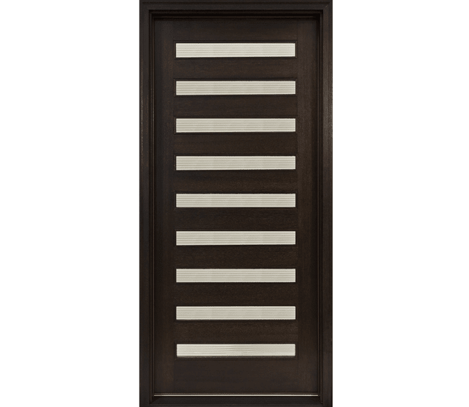 9 light contemporary black wood entry door