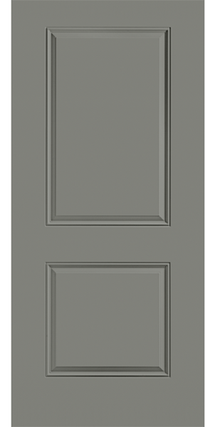 two panel gray steel entry door