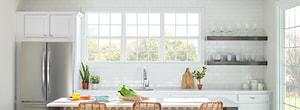 three encompass vinyl hung windows white kitchen