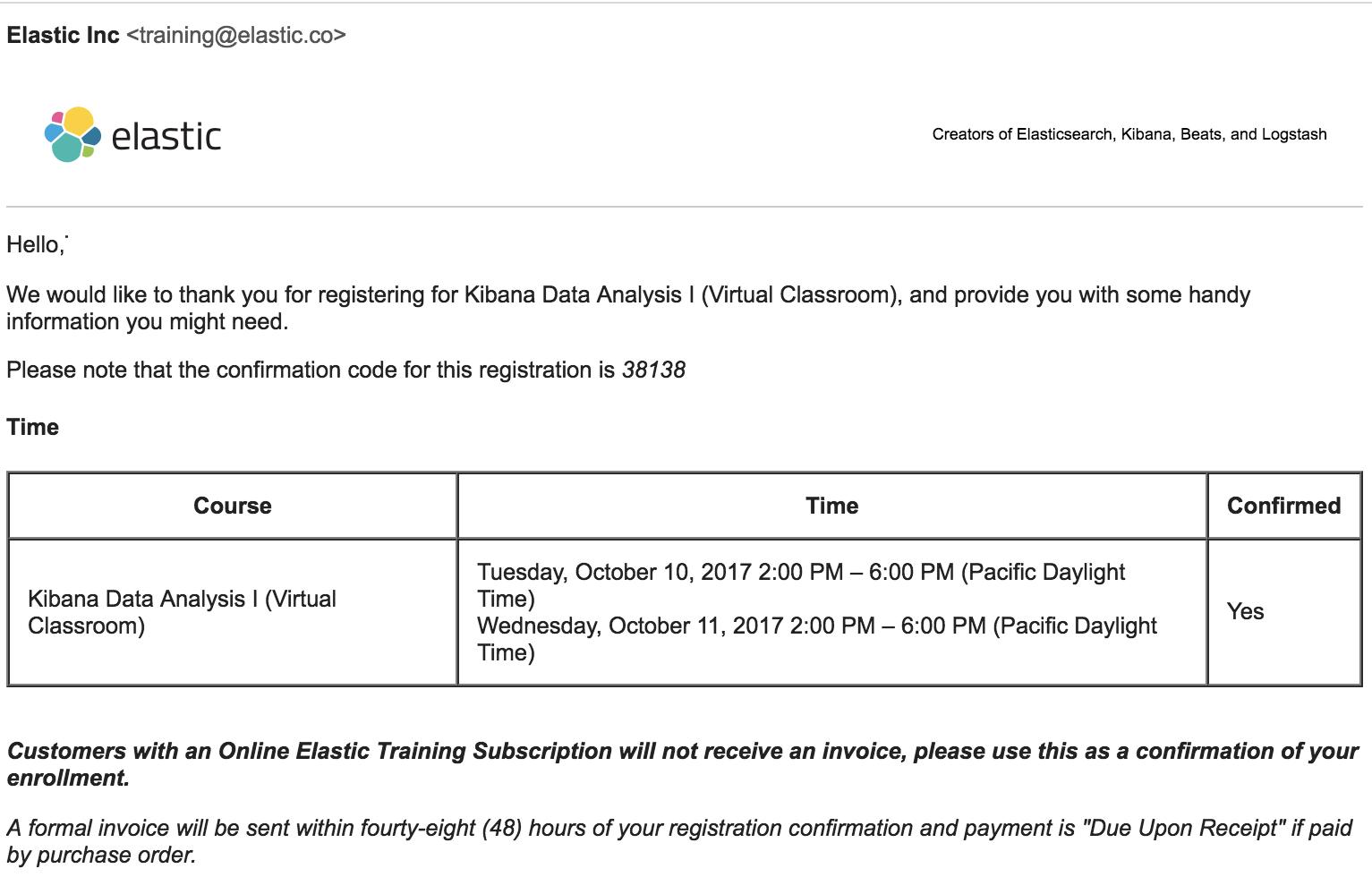 Screenshot: Registration Confirmation