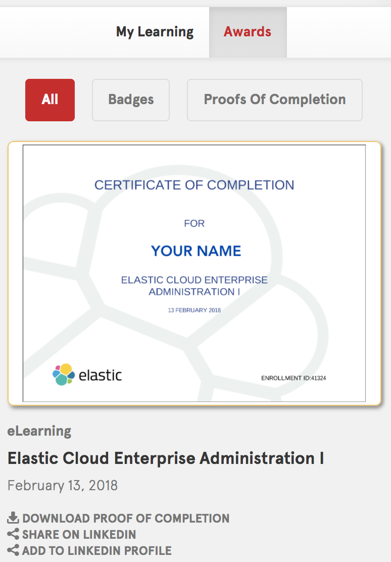 Screenshot: Certificate of Completion