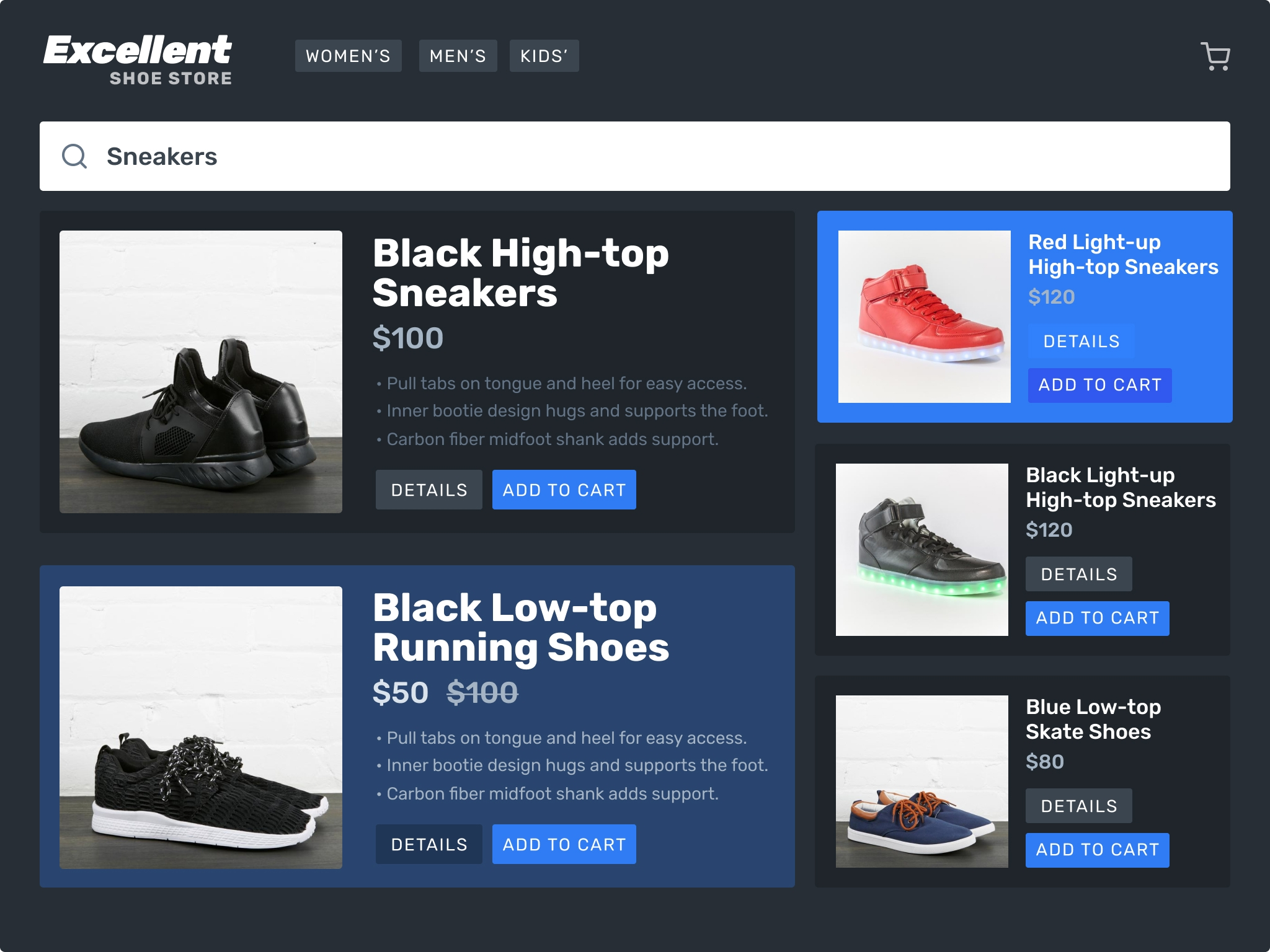 Our store landing page has one highlighted window, for dynamically allotted products.