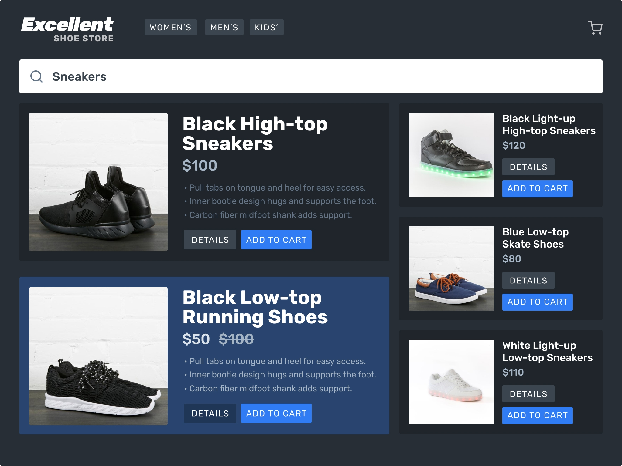 A simple ecommerce store that sells shoes.