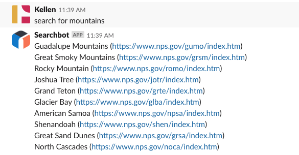 A slack message that says search for mountains and results containing mountains